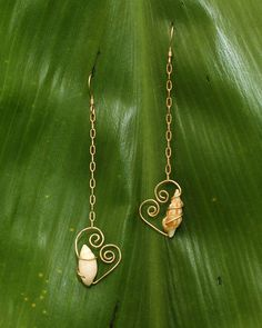 Gold Filled Wire Wrapped Shell Dangles. $25.00, via Etsy. THIS! PERFECT!!