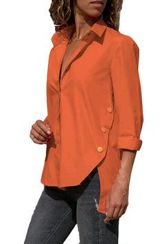Women's Office Lady Chiffon Irregular Shirt Top Long Sleeve Female Blouse 2019 Summer Shirts Tops… Simple Shirts, Casual Shirts, Casual Tops, Chiffon Shirt, Office Ladies, Summer Shirts, Mode Style, Blouses For Women, Ladies Blouses