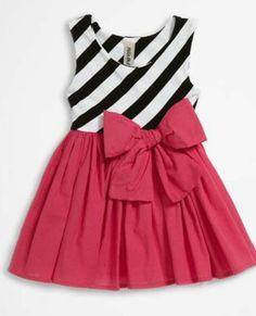 Vestido rayas diagonal con corbata roja
