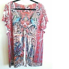 """One World/Live & Let Live Red Sublimation Print 3X This Live & Let Live (By One World) Red Sublimation Print Top is a Plus Size 3X in great used condition. The front is embellished with tiny pinkish-copperish gems. The graphics are sublimation print on 95% polyester, 5% spandex fabric with some stretch. Bust measures 23 inches across laying flat, measured from pit to pit, unstretched, so 46"""" around. 29.5"""" long. No pilling. No stains. ::: Bundle 3+ items from my closet and save 30% off when…"""
