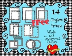 Here's a set of 14 black and white gingham frames for creating classroom resources.