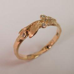 Leaves Diamonds Ring No. 9 14K Rose Gold and by doronmerav