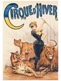 Cirque d'Hiver, vintage circus poster.