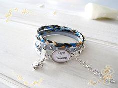 """"""" super nounou """" bracelet liberty bleu, cadeau pour la nounou"""