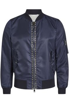 Valentino Rockstud Unlimited Bomber Jacket In Blue Tall Men Fashion, Pop Fashion, Mens Fashion, Valentino Men, Valentino Rockstud, Trouser Suits, Trousers, Top Clothing Brands, Tall Guys