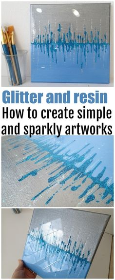 Art resin, metallic paints and glitter. How to create simple yet striking sparkly and shimmering artworks for your home - video. Easy crafts and painting for beginners