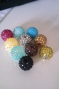 10pcs 18MM Resin Rhinestone Beads Mixed Colors by POPARAZZIHOOPS, $5.50