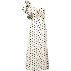 Johanna Ortiz Polka Dot Gown (9,935 SAR) ❤ liked on Polyvore featuring dresses, gowns, white evening dresses, white ball gowns, one shoulder evening gowns, white one shoulder dress and evening cocktail dresses