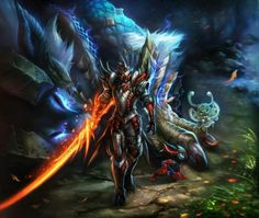 """Rathalos armored hunter with a Wyvern blade """"soul"""" long sword and a slain Zinogre"""