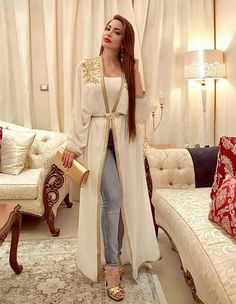 Image may contain: 1 person Abaya Fashion, Modest Fashion, Indian Fashion, Fashion Dresses, Morrocan Dress, Mode Abaya, Arabic Dress, Caftan Dress, Indian Designer Wear
