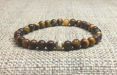 6mm Brown Tiger Eye Gemstones 925 Silver Gold Stretch Bracelet, Healing Chakra Protection Meditation Yoga mala Zodiac Capricorn Bracelet de ArtGemStones en Etsy
