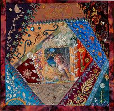 Crazy quilt block. (This would make a fun photo album cover, wouldn't it?)