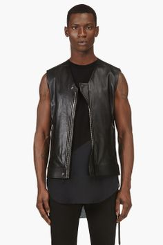 RICK OWENS Black Calfskin Lace-Up Vest