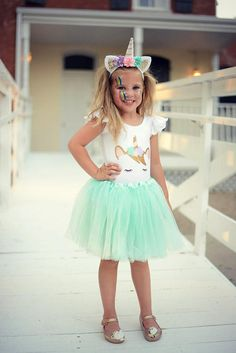 Our Girls Pastel Unicorn Costumes feature a Pastel Unicorn Leotard , matching pastel mint tutu, and matching pastel unicorn headband! Not looking for an entire costume? Separate costume options are available in the drop-down menu to the right!  Our white leotards are FULLY LINED which make them much higher quality than leading competitors'. Unicorn is hand-drawn and pressed with professional grade heat transfer vinyl using a permanent heat-press procedure ensuring the highest quality for…