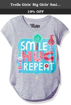 Trolls Girls' Big Girls' Smile Hug Repeat Short-Sleeved Long T-Shirt with Shirttail Hem, Heather Grey, XL. Trolls movie smile hug repeat girls short sleeve longer tee with shirttail hem.