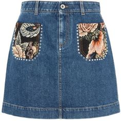 Stella Mccartney Denim Patch Pocket Tapestry Skirt (£515) ❤ liked on Polyvore featuring skirts, mini skirts, bottoms, saias, midnight, pocket skirt, short denim skirts, zip skirt, denim miniskirt and stella mccartney