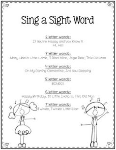 Sing a Sight Word!  I discovered these tunes years ago at a conference! I love whipping out a song for my kids-they think I'm very musical :)!  Print laminate and keep this handy! You and your students will be singing all day...and practicing sight words too!  RTI sight words TK-1