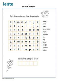 Learn Dutch, Learn German, Word Seach, Co Teaching, Dutch Language, Indoor Activities For Kids, School Readiness, Preschool Worksheets, Kids Learning