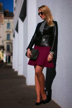 skirt & clutch - Forever 21 / top - Asos / leather jacket - Vero Moda / pumps - Primark / sunglasses - H&M / watch - no name / bracelets - Swarovski, Thomas Sabo / rings - engagement ring, LookbookStore, Thomas Sabo / earrings - vintage