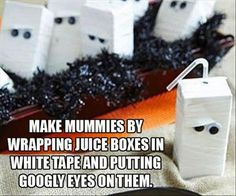 21 Spooktacular Halloween Party Ideas for Kids - How to make Mummy drinks carton for any party quick and easy.