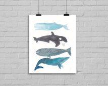Balinaların Balinalar Suluboya Resim Balina Sanatsal Reprodüksiyon Balina Stack Balina Aile Suluboya Wall Art İllüstrasyon Sanatsal Baskı