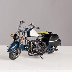 Miniatura Moto Harley-Davidson Vintage - Azul - Machine Cult - Kustom Shop   A loja das camisetas de carro e moto