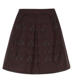 Burgundy Jacquard Print Skater Skirt - New Look