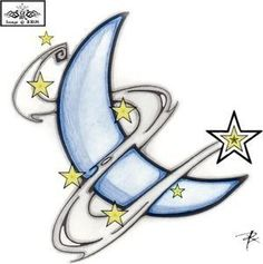 sketches of shooting stars and moons Tribal Tattoos, Tattoos Skull, Star Tattoos, Body Art Tattoos, Tattoo Drawings, Memory Tattoos, Star Images, Star Pictures, Moon Star Tattoo