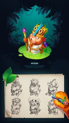 me Art : We're glad to represent you our new RPG game concept - Treasure Hunter. It's a game with brave and inventive tiger Rocky who, despite everything, hunts for treasure. Discover the new bright world with different animal characte Game Character Design, Character Design Inspiration, Character Concept, Character Art, Game Concept, Concept Art, Games Design, Design Art, 2d Game Art