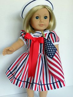 A Red White and Blue Dress for Kit Ruthie by PeppersDollClothes