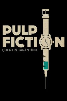 I have never seen Pulp Fiction but this poster helps me predict what it's about. The needle representing drugs, the black background symbolises crime/death and the bold writing is a reference to authority and warning. Best Movie Posters, Minimal Movie Posters, Love Posters, Film Posters, Cinema Posters, Pulp Fiction, Quentin Tarantino, Belle Nana, Death Proof