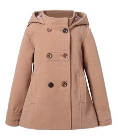 Look what I found on #zulily! Kakhi Hooded Pleated Peacoat - Toddler & Girls #zulilyfinds