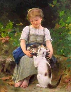 """""""Tenderness""""-- by Léon Bazile Perrault (1832-1908, French); a student of William Bouguereau and François-Edouard Picot."""