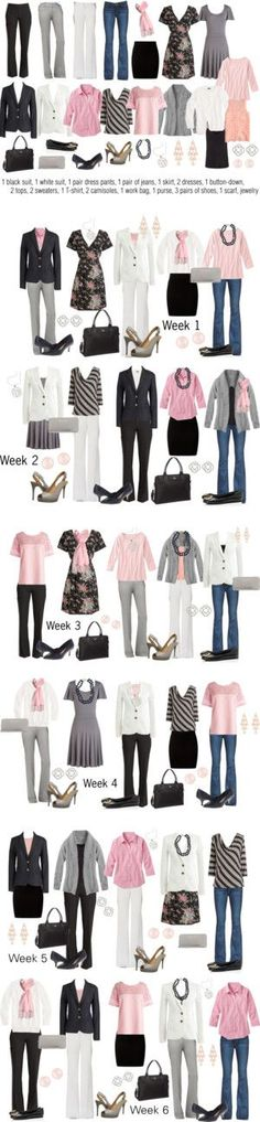 Pink & Gray Work Capsule Wardrobe by kristin727 on Polyvore featuring Paige Denim, J.Crew, Tory Burch, rsvp, Kate Spade, OPTIONS, Murphy, Paul Smith, New Look and Nine West