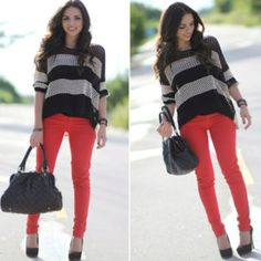 Red skinny jeans for spring.