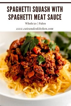 This Whole30 Spaghetti Squash with Meat Sauce makes a great complete Whole30 dinner recipe. It's hearty and packed with veggies, flavorful, and makes delicious leftovers! #whole30recipes #whole30meal #spaghettisquashrecipe #spaghettimeatsauce #paleospaghetti Whole30 Dinner Recipes, Paleo Dinner, Paleo Recipes, Real Food Recipes, Spaghetti Meat Sauce, Spaghetti Squash Recipes, Whole 30 Salads, Seared Pork Chops, Meat Sauce Recipes