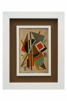 Constructivist painting in oil on board, signed Oscar Troneck (1900-1978). Belgium, Early 20th Century