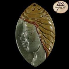 BI02813# Natural Hand Carved Face Succor Creek Jasper Pendant Bead #Handmade #Pendant