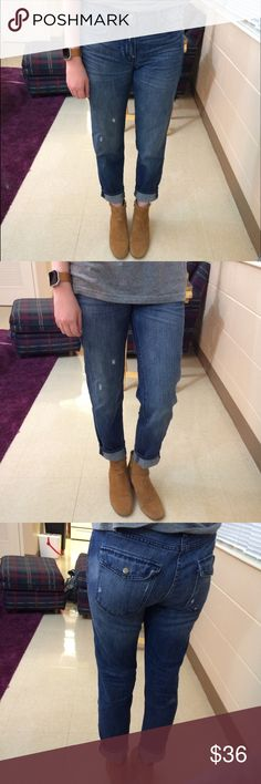 """Gap High Rise Sexy Boyfriend Jeans Gap """"sexy boyfriend"""" style jeans. Size 27/4 regular. Waist is 15, rise is 9, inseam is 27. Google this style name for tons of cute blogger pics wearing these jeans! Open to ALL offers and 30% off bundles! GAP Jeans Boyfriend"""