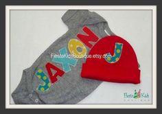 Newborn boy OUTFIT bodysuit and beanie hat by FiestaKidsBoutique, $39.50