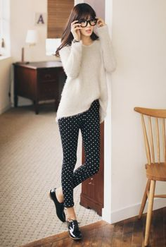Korean Fashion Dotted Retro Women Ladies Legging Pants