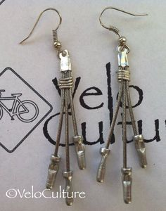 Recycled bicycle brake cable earrings - bicycle jewellery - upcycled bike