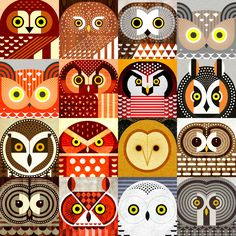 Sixteen species of North American owls, including, Snowy, Pygmy. Owl Canvas, Canvas Prints, Art Prints, Vogel Illustration, Digital Illustration, Charley Harper, Owl Print, Art Plastique, Bird Art
