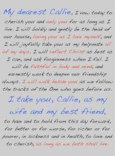 Our Wedding Vows: To Be a Godly Husband