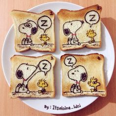 Snoopy & Woodstock toast art by Elaine Wai☺ (@itselaine_wai)