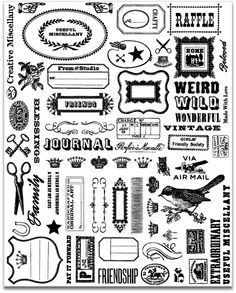 FREE printable vintage clipart sheet for journaling and scrapbooking and other paper projects