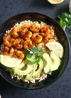 Honey garlic prawns with wholegrain rice and avocado, a super healthy and delicious dish that is packed with big flavours.