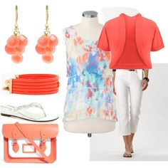 """""""Coral and Blue - Plus Size"""" by intcon on Polyvore"""