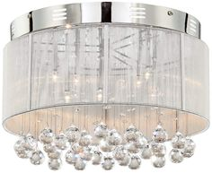 Silver Shimmer and Crystal Ceiling Light | 55DowningStreet.com