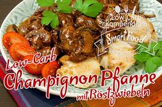 Low carb mushroom pan with fried onions & chicken breast - Food and Drinks Ideas Healthy Eating Tips, Healthy Nutrition, Clean Eating, Healthy Recipes, Mushroom Recipes, Stuffed Mushrooms, Food Porn, Good Food, Food And Drink